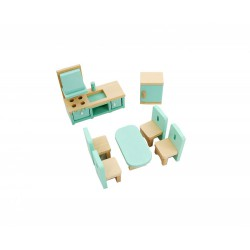 Drewniane mebelki do kuchni i jadalni wyposażenie domków dla lalek