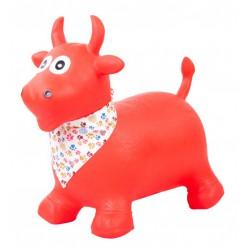 Gumowy skoczek byczek - czerwony z chustą