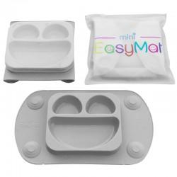 EasyTots - EasyMat Mini 2in1 GREY silikonowy talerzyk z podkładką - lunchbox