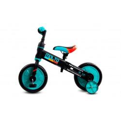 Rowerek biegowy Molto z opcją + pedały + kółka boczne turkusowy