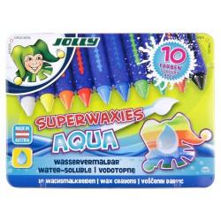 Kredki świecowe Aqua niełamiące się w metalowym pudełku