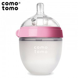 COMOTOMO - antykolkowa butelka silikonowa 150 ml Pink NEWBORN
