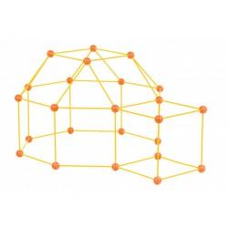 Zwariowany namiot, zestaw konstrukcyjny do budowy bazy - żółto-pomarańczowy
