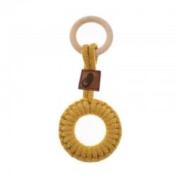 Hi Little One - gryzak sznurkowy 2w1 2 Rings Teether wood and cotton Mustard