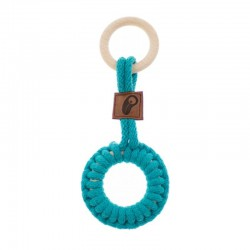 Hi Little One - gryzak sznurkowy 2w1 2 Rings Teether wood and cotton Dark Teal