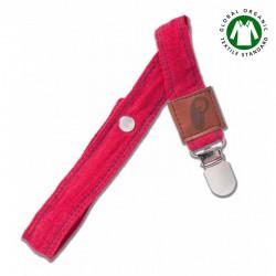 Hi Little One - Zawieszka do smoczka z organicznej BIO bawełny GOTS Muslin Pacifier holder Strawberry