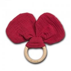 Hi Little One - gryzak z grzechotką szeleszczącą z organicznej BIO bawełny GOTS Mouse teether with rustling rattle Strawberry