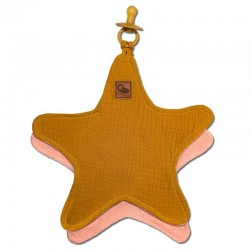 Hi Little One - Przytulanka dou dou z zawieszką z organicznej BIO bawełny GOTS cozy muslin pacifier keeper Star Mustard