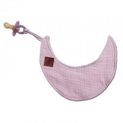 Hi Little One - Przytulanka dou dou z zawieszką z organicznej BIO bawełny GOTS cozy muslin pacifier keeper Moon Blush