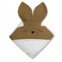 Hi Little One - Ręcznik z kapturem 100 x 100 SLEEPY BUNNY hooded bath towel Dark Oak Light