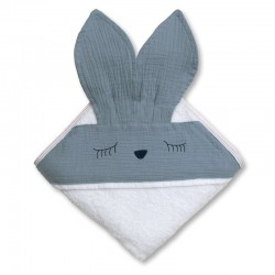 Hi Little One - Ręcznik z kapturem 100 x 100 SLEEPY BUNNY hooded bath towel Sky Blue
