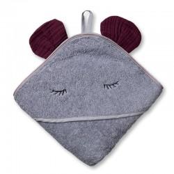 Hi Little One - Ręcznik z kapturem 100 x 100 MOUSE hooded bath towel Lavender