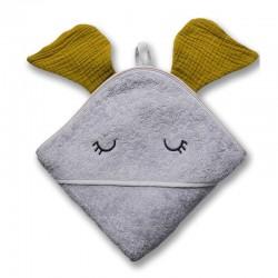 Hi Little One - Ręcznik z kapturem 100 x 100 ELEPHANT hooded bath towel Olive