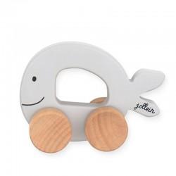 Jollein - Autko drewniane Sea Animals Wieloryb Grey