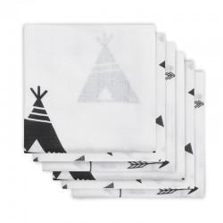Jollein - 6 pieluszek niemowlęcych Hydrophlic 70 x 70 cm Indians Black and White
