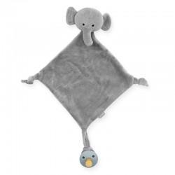 Jollein - przytulanka dou dou z zawieszką na smoczek Elephant Storm Grey
