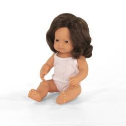 Lalka dziewczynka Europejka 38cm (brązowe włosy) Miniland Doll