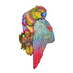 Puzzle drewniane kolorowe Papuga