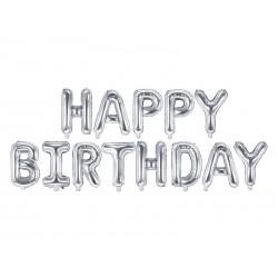 Balon foliowy Happy Birthday, 340x35cm, srebrny (1 karton / 50 szt.)