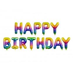 Balon foliowy Happy Birthday, 340x35cm, tęczowy (1 karton / 50 szt.)