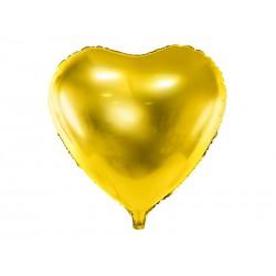 Balon foliowy Serce, 45cm, złoty (1 karton / 50 szt.)