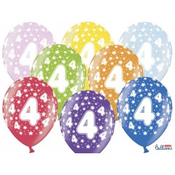 Balony 30cm, 4th Birthday, Metallic Mix (1 op. / 6 szt.)