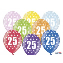 Balony 30cm, 25th Birthday, Metallic Mix (1 op. / 6 szt.)