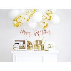 Zestaw dekoracji party - Urodziny, złoty (1 karton / 8 op.) (1 op. / 60 szt.)
