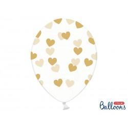 Balony 30cm, Serduszka, Crystal Clear (1 op. / 6 szt.)