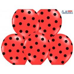 Balony 30cm, Kropki, Pastel Poppy Red (1 op. / 6 szt.)
