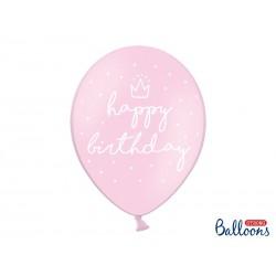 Balony 30cm, happy birthday, P. Baby Pink (1 op. / 6 szt.)