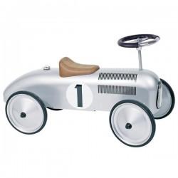 Jeździk retro wyścigowy srebrny