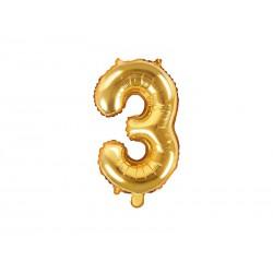 """Balon foliowy Cyfra """"""""3"""""""", 35cm, złoty"""