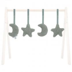 Jollein - 4 zabawki interaktywne do stojaka Babygym Moon Ash Green