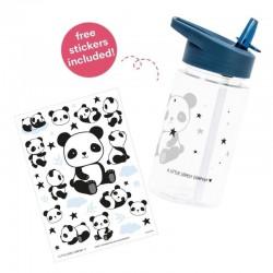 A Little Lovely Company - Bidon transparentny ze składanym ustnikiem Panda z naklejkami