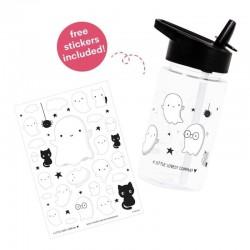 A Little Lovely Company - Bidon transparentny ze składanym ustnikiem Duszek z naklejkami