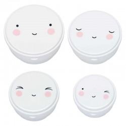 A Little Lovely Company - 4 pojemniki śniadaniowe Snack Box Happy Face