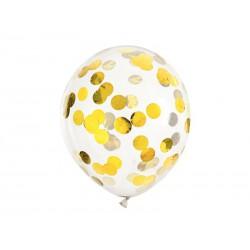 Balony z konfetti - kółka, 30cm, złoty (1 op. / 6 szt.)