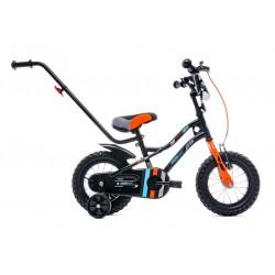 Rowerek dla chłopca 12 cali Tiger Bike z pchaczem czarno - pomarańczow - turkusowy