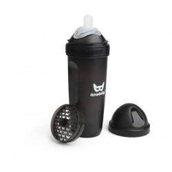 Herobility - butelka antykolkowa Herobottle 340 ml, czarna + smoczek L (4 m+)