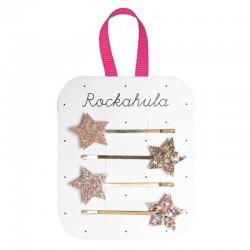 Rockahula Kids - 4 wsuwki do włosów Sparkle Star Gold