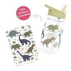 A Little Lovely Company - Bidon transparentny ze składanym ustnikiem Dinozaury z naklejkami