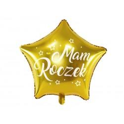 Balon foliowy Gwiazdka - Mam Roczek, 48cm, złoty