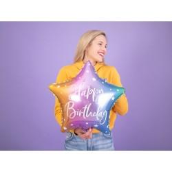 Balon foliowy Happy Birthday, 40cm, mix (1 karton / 50 szt.)