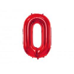 Balon foliowy Cyfra ''0'', 86cm, czerwony (1 karton / 50 szt.)