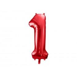Balon foliowy Cyfra ''1'', 86cm, czerwony (1 karton / 50 szt.)