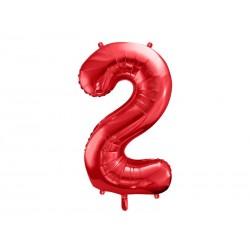 Balon foliowy Cyfra ''2'', 86cm, czerwony (1 karton / 50 szt.)