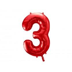 Balon foliowy Cyfra ''3'', 86cm, czerwony