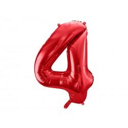 Balon foliowy Cyfra ''4'', 86cm, czerwony (1 karton / 50 szt.)