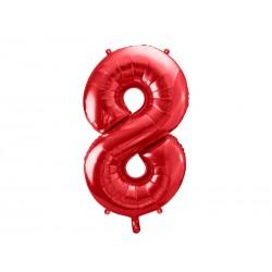 Balon foliowy Cyfra ''8'', 86cm, czerwony (1 karton / 50 szt.)